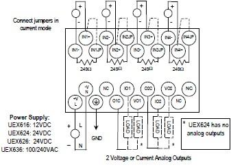 IC200UEX616 6 channel Analog expansion.  (4) Analog inputs & (2) Analog outputs 1 2VDC Power Supply