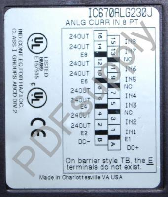 IC670ALG230 Analog Input, Current, 8 Channel IC670A IC670AL IC670ALG PDFsupply also repairs GE IP FA