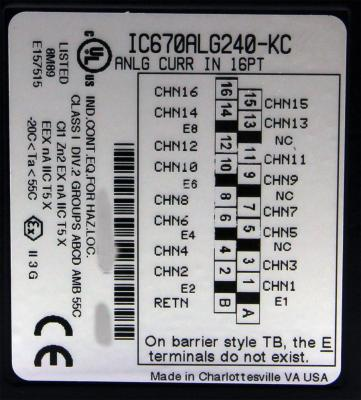 IC670ALG240 Analog Input, Current, 16 Channel IC670A IC670AL IC670ALG PDFsupply also repairs GE IP F
